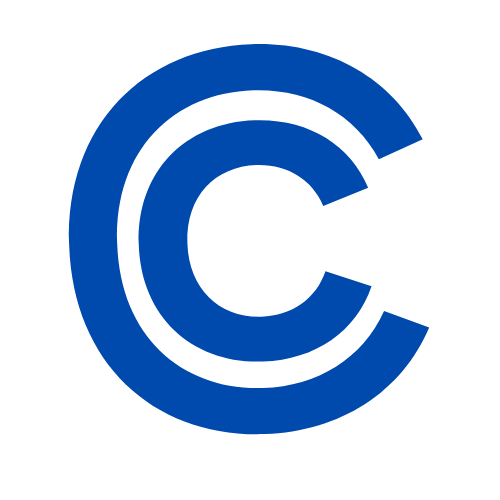 "A blue letter ""C"" with a larger blue letter ""C"" surrounding it."